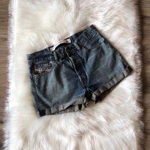 Diesel High Waist Jean Shorts Size 30-Button Fly